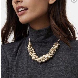 NWT LOFT Pearl Silver Bauble Bib Necklace
